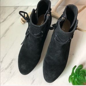 NWOT-SPLENDID Black Suede Leather Lace Booties 7.5